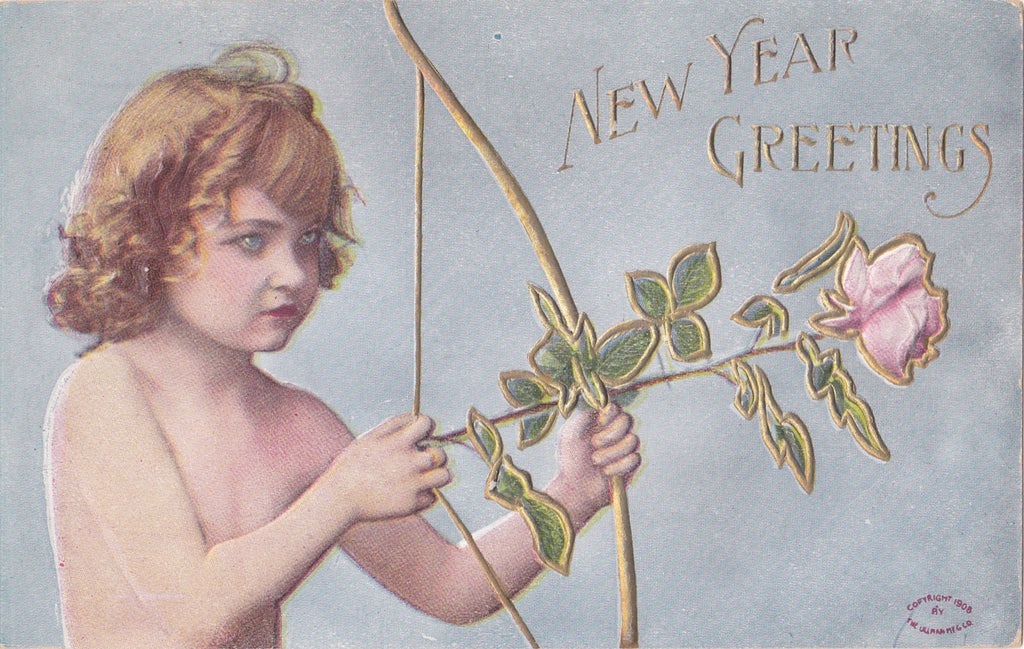 Cupid Takes Aim- 1900s Antique Postcard- New Years Greetings- Roses For Arrows- Edwardian Art Card- Ullman Mfg Co.