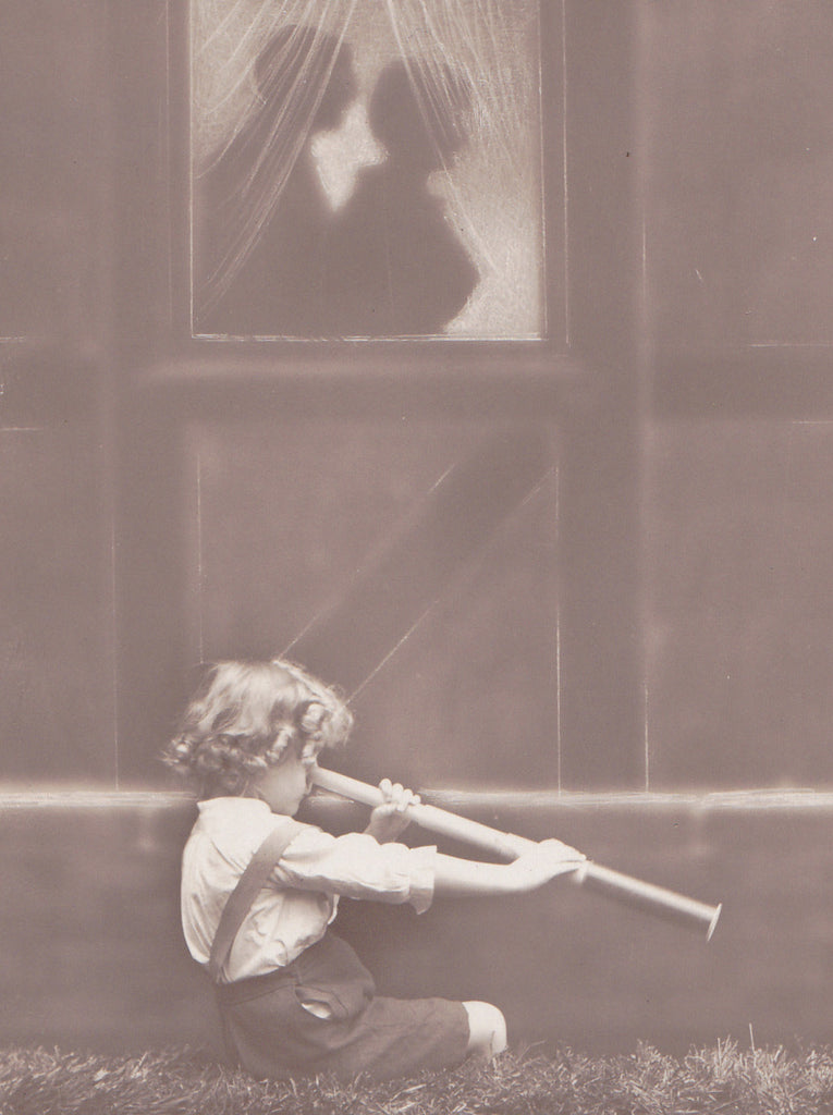 Spyglass Peeping Tom- 1910s Antique Photograph- Lovers Silhouette- Edwardian Humor- Real Photo Postcard- Novelty RPPC