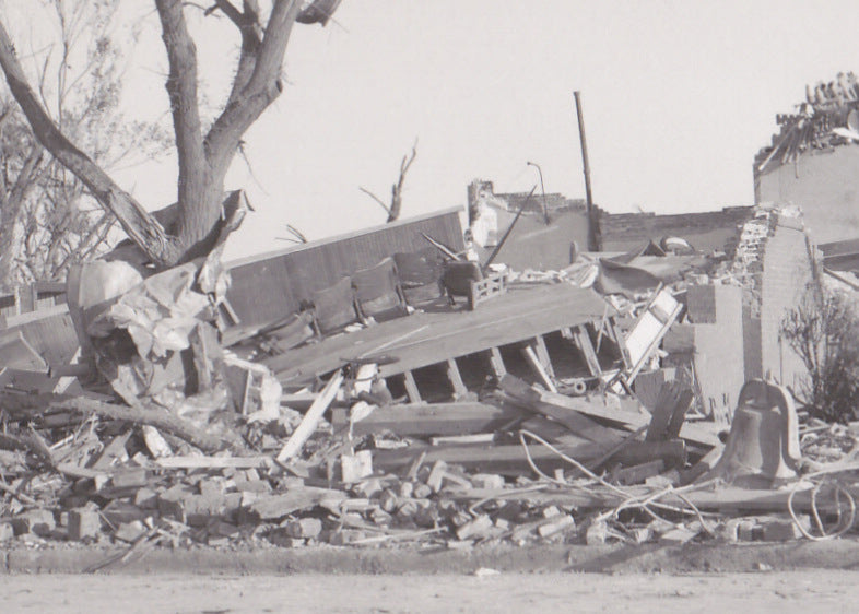 Wreckage of the Lutheran Church- 1950s Vintage Photograph- Weather Disaster- Twister Aftermath- Tornado Damages- Kodak RPPC