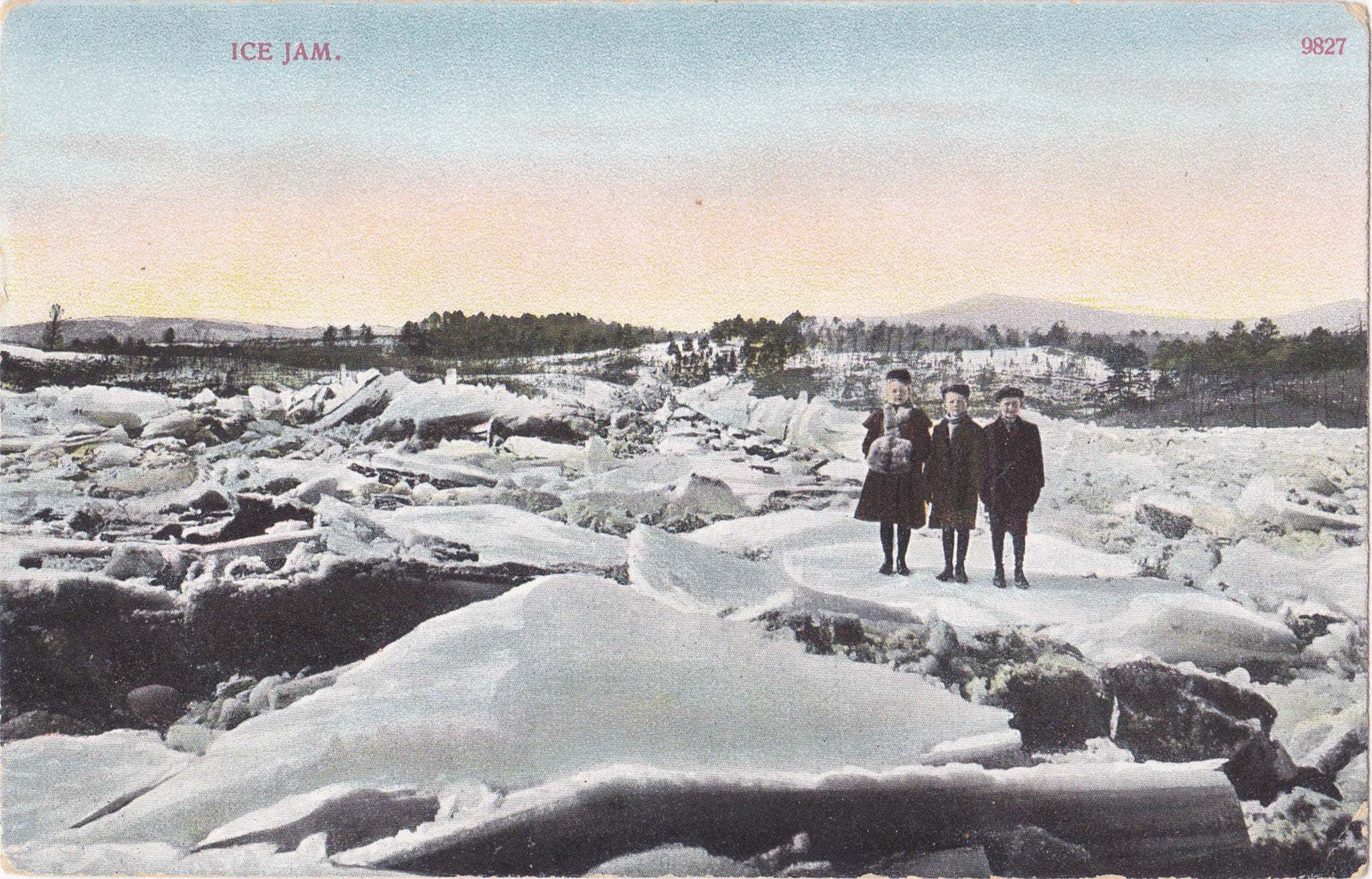 f53276ccdf8cbf Ice Jam- 1900s Antique Postcard- Frozen Lake- Winter Landscape- Edwardian  Children- A C Bosselman- Unused