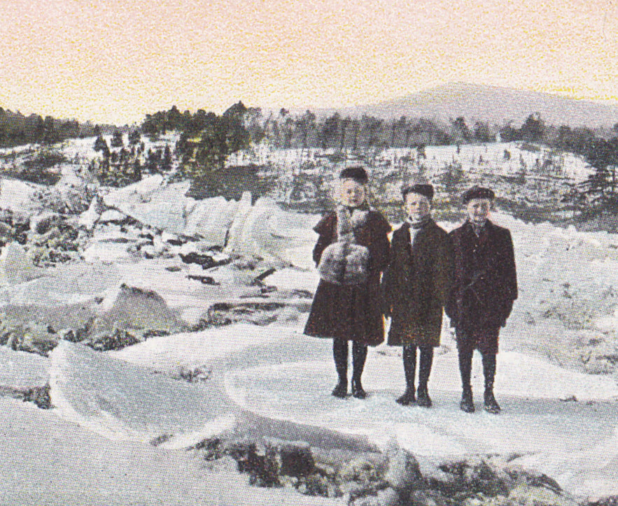 Ice Jam- 1900s Antique Postcard- Frozen Lake- Winter Landscape- Edwardian Children- A C Bosselman- Unused