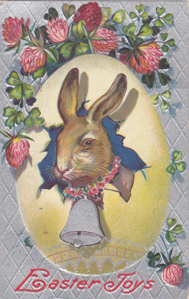 Easter Joys- 1910s Antique Postcard- Edwardian Easter Bunny- Rabbit Hatching From Egg- Clover Blossom- Easter Series- Used