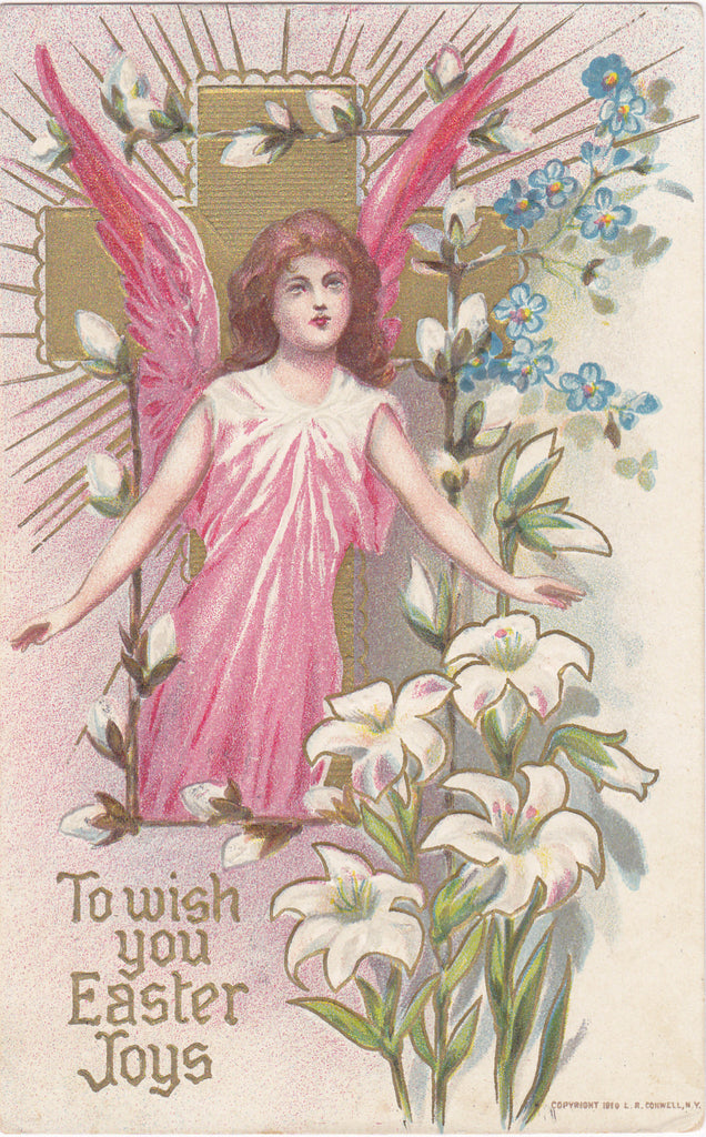 Joyful Easter Angel- 1910s Antique Postcard- Easter Lily, Forget-Me-Nots, Pussy Willows- L R Conwell- Edwardian Easter- Used