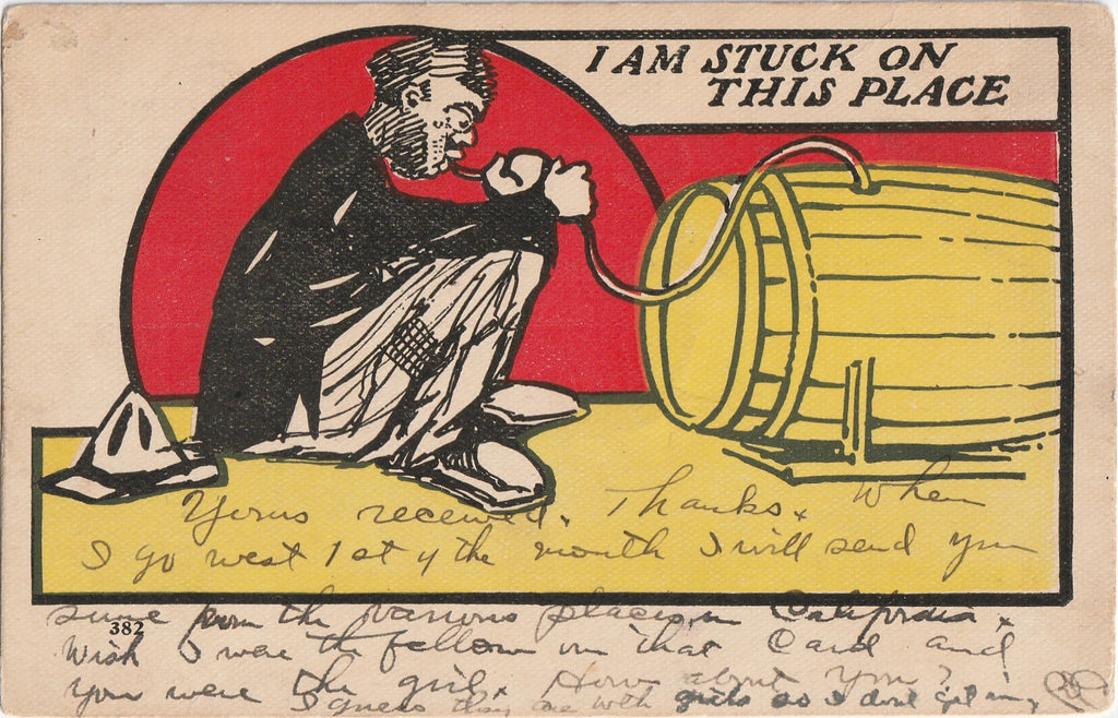 I Am Stuck On This Place Antique Drinking Postcard