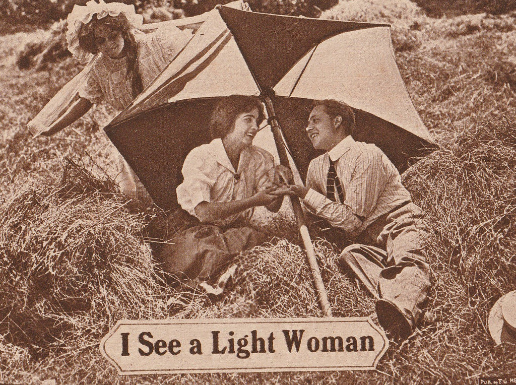 I See A Light Woman Antique Postcard Close Up