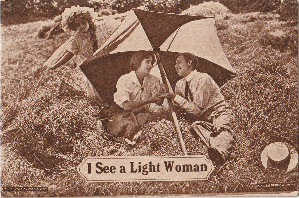 I See A Light Woman Antique Postcard