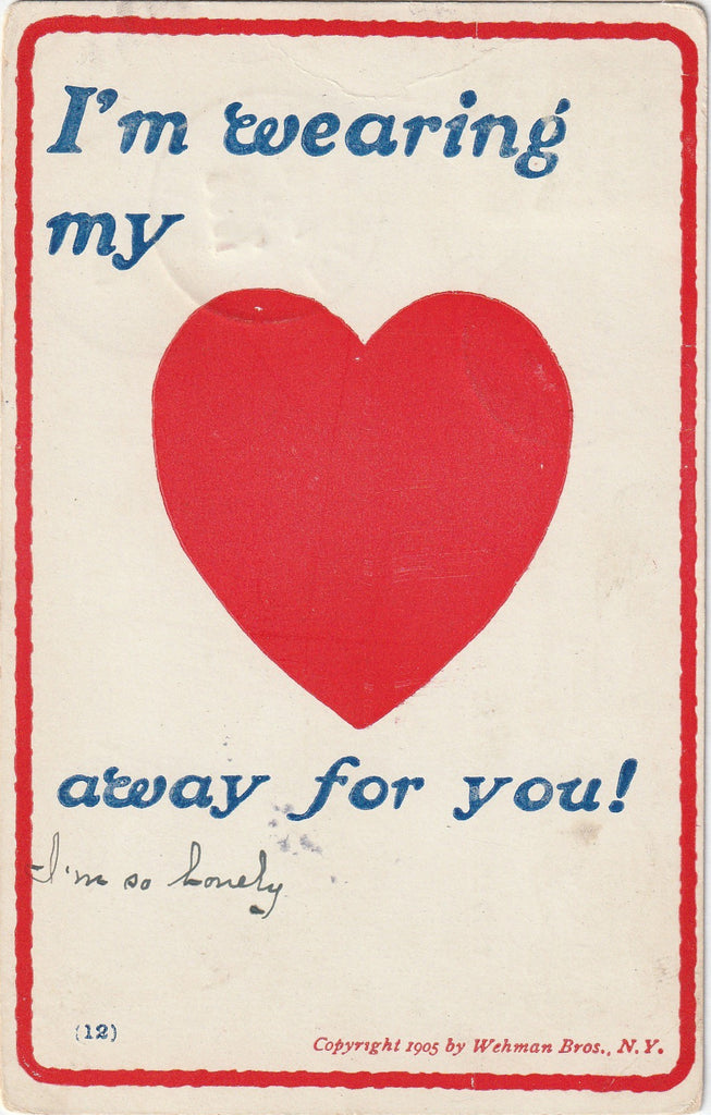 I'm Wearing My Heart Away For You Postcard
