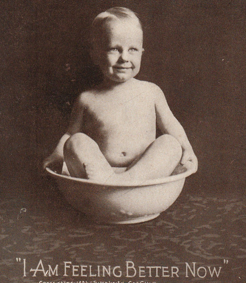 I Am Feeling Better Now Antique Chamber Pot Postcard Close Up 2
