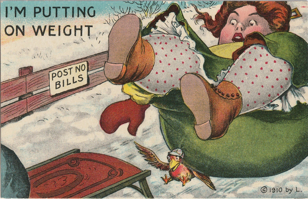 I'm Putting On Weight Antique Postcard