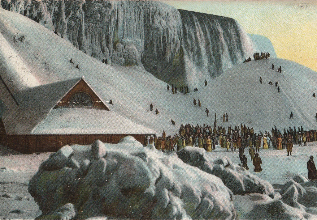 Ice Mounting Frozen Niagara Falls, NY Antique Postcard Close Up 2