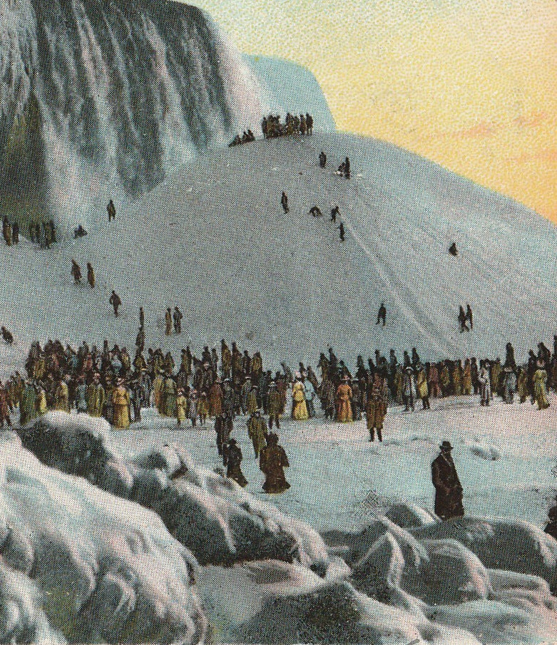 Ice Mounting Frozen Niagara Falls, NY Antique Postcard Close Up 3
