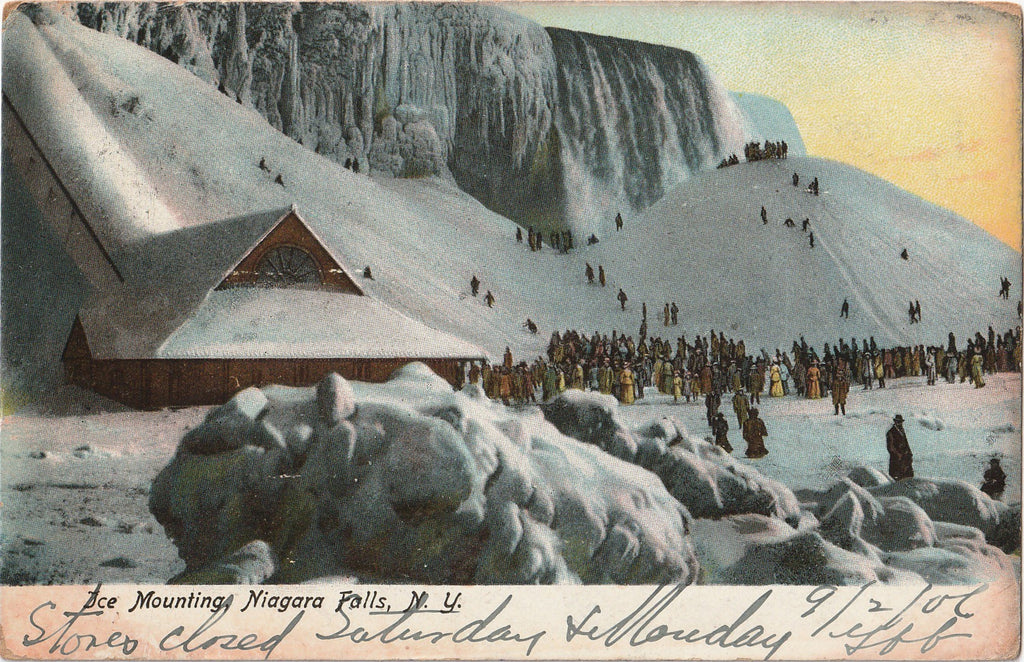 Ice Mounting Frozen Niagara Falls, NY Antique Postcard