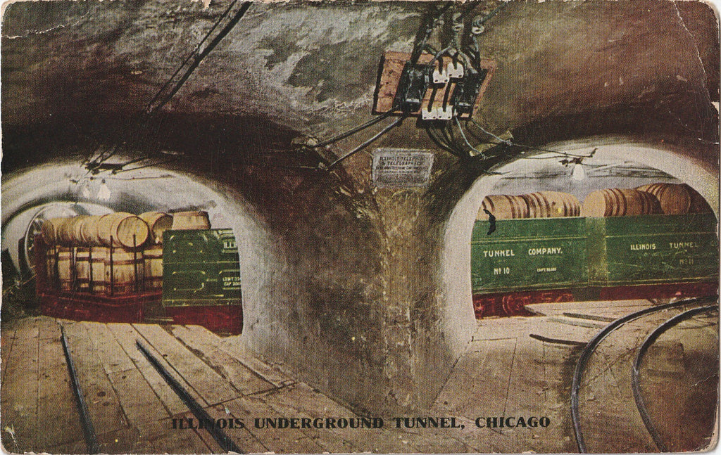 Illinois Underground Tunnel Chicago Postcard