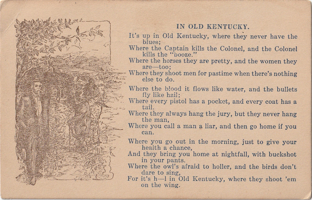 In Old Kentucky Poem Postcard