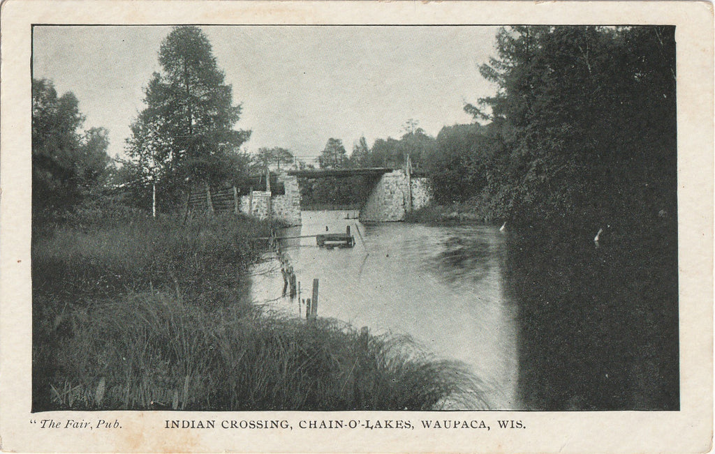 Indian Crossing Chain-O'-Lakes Waupaca WI Postcard