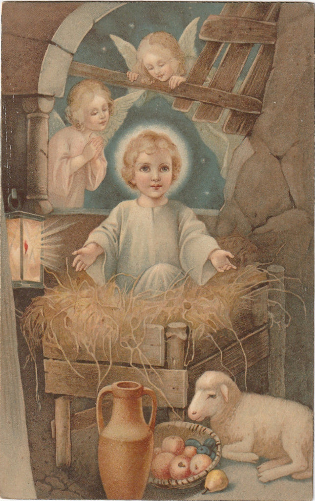 Infant Jesus in Manger Antique Postcard