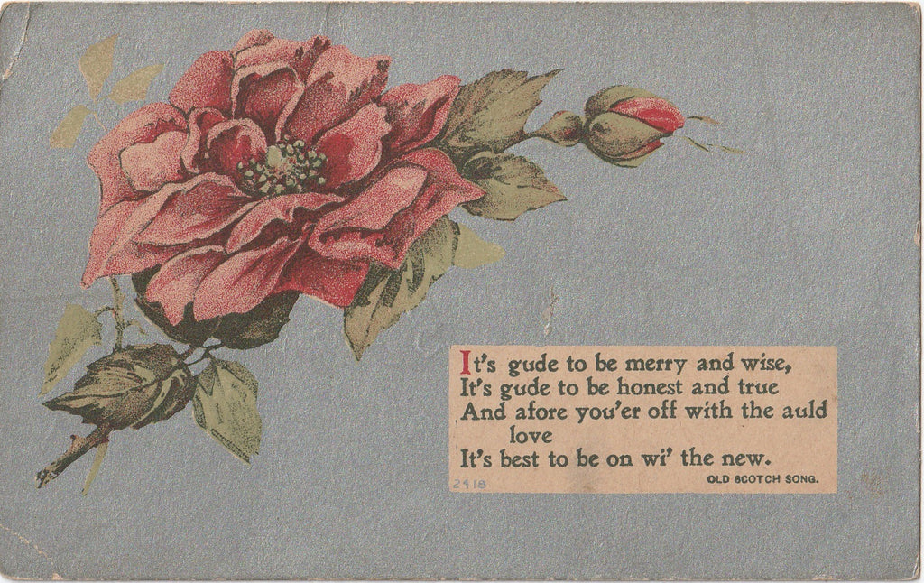 It's Gude to Be Merry and Wise Antique Postcard