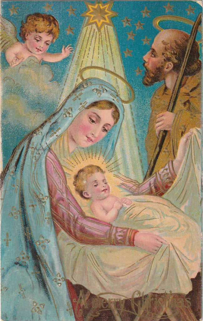 Jesus Mary Joseph Christmas Antique Postcard
