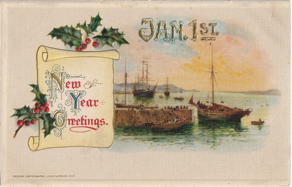 John Winsch Antique New Years Postcard 1