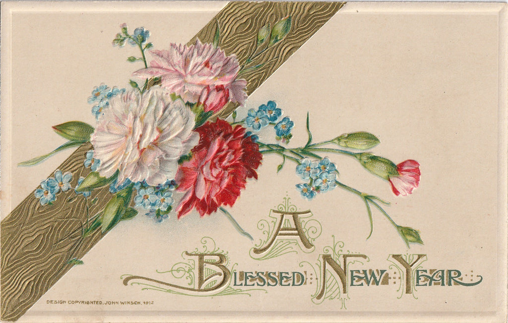 John Winsch Antique New Years Postcard 2
