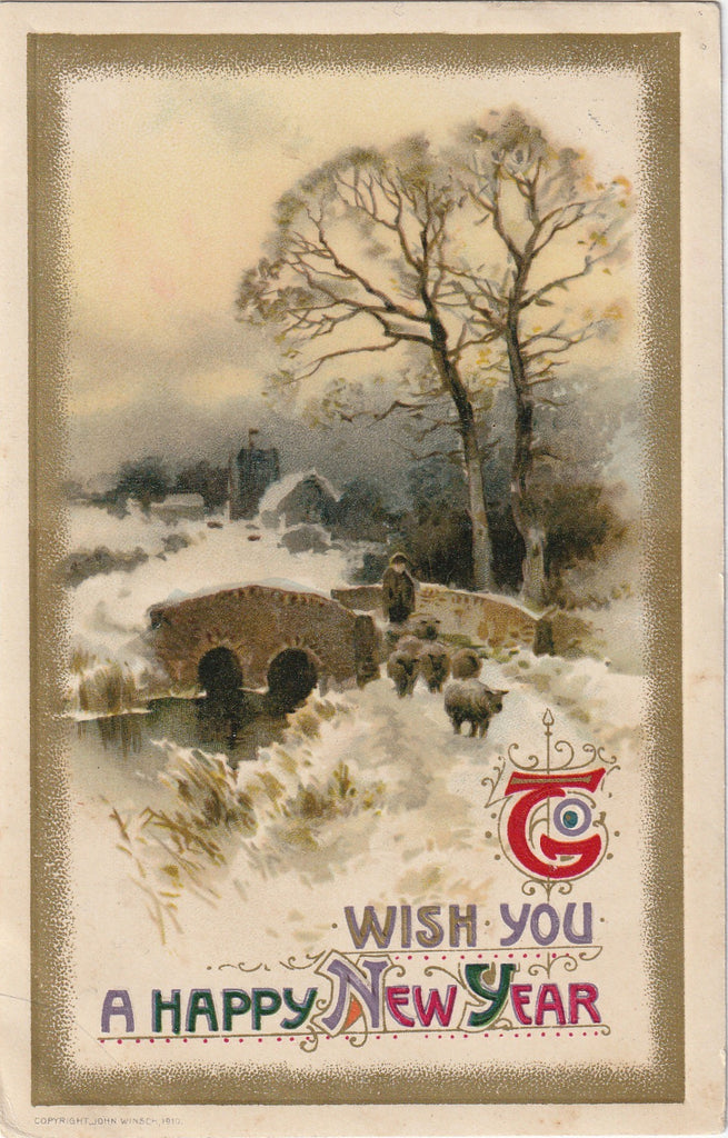 John Winsch Antique New Years Postcard 4