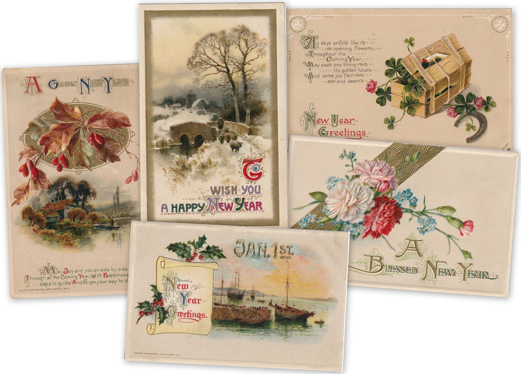 John Winsch Antique New Years Postcards