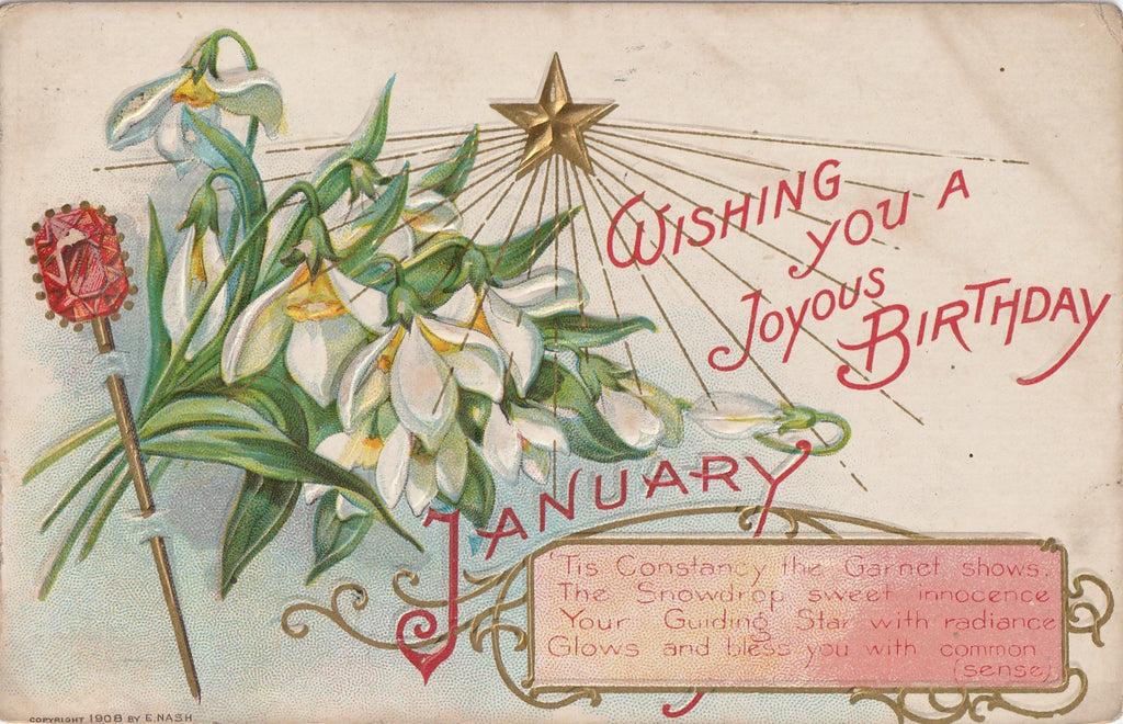 Joyous January Birthday E Nash Postcard