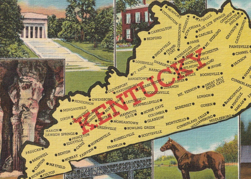 Kentucky Map Vintage Postcard Close Up 2