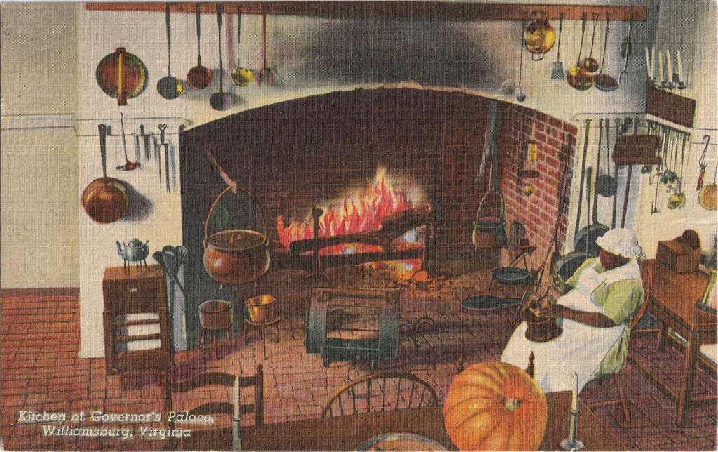 Kitchen at Governor's Palace - Williamsburg, VA - Postcard, c. 1940s