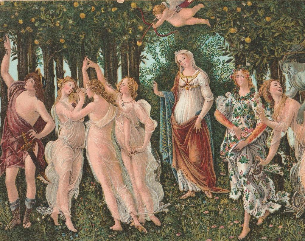 La Primavera Botticelli Antique Postcard Close Up
