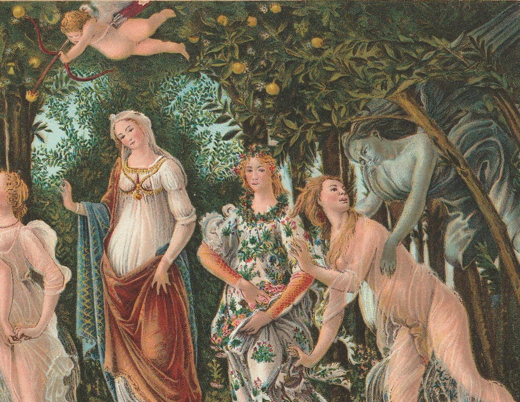 La Primavera Botticelli Antique Postcard Close Up 2