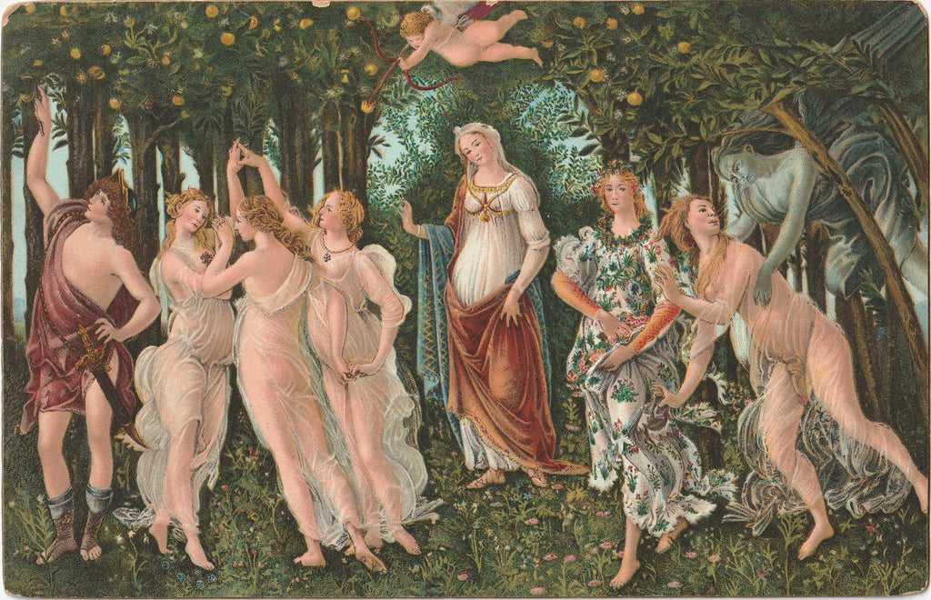 La Primavera Botticelli Antique Postcard
