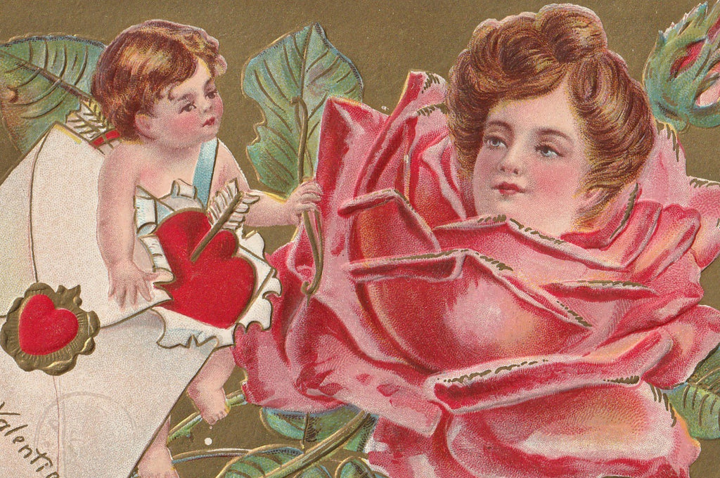 Lady Rose Valentine Antique Postcard Close Up