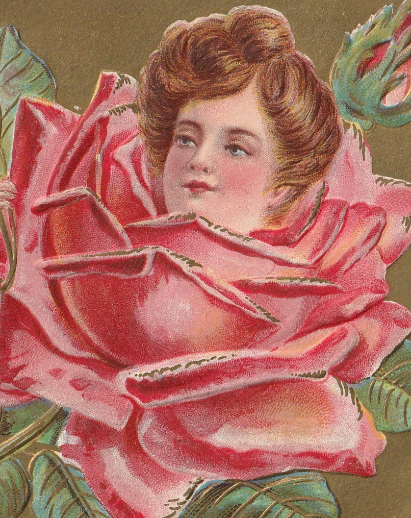 Lady Rose Valentine Antique Postcard Close Up 2