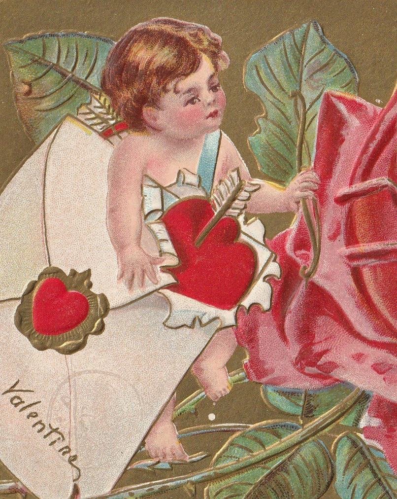 Lady Rose Valentine Antique Postcard Close Up 3