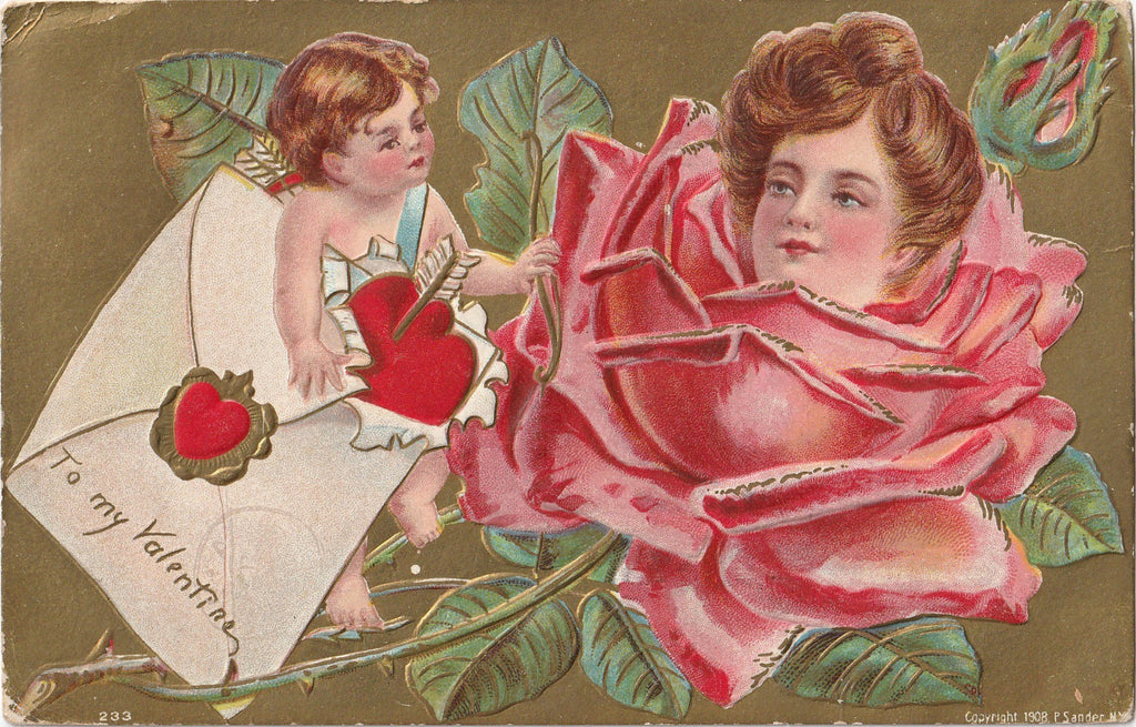 Lady Rose Valentine Antique Postcard