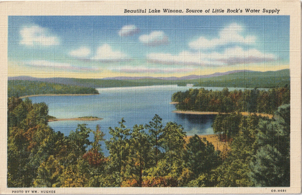 Lake Winona, Little Rock, AR - Postcard, c. 1950s