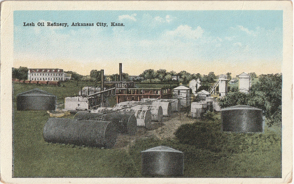 Lesh Oil Refinery Arkansas City Kansas Postcard