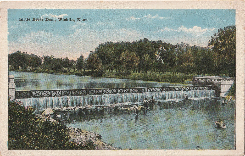 Little River Dam - Wichita, Kansas - Postcard, c. 1900s
