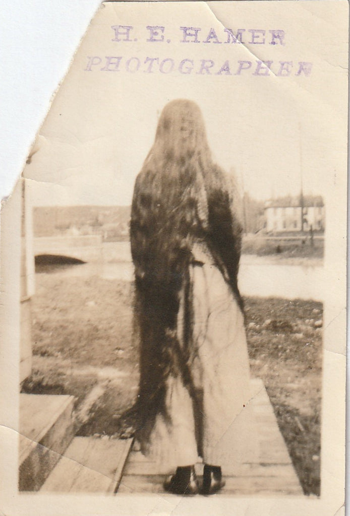 Long Ankle-Length Hair Antique Photo H E Hamer