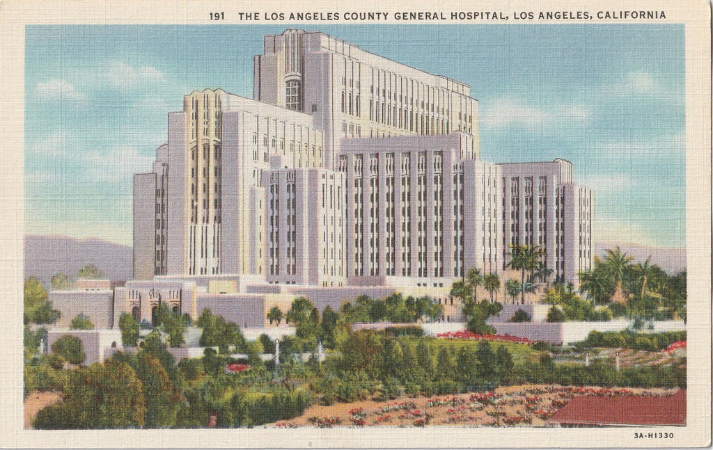 Los Angeles County General Hospital California Postcard