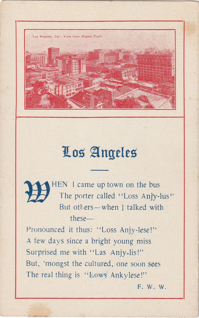Los Angeles Loss Anjy-lus Antique Postcard