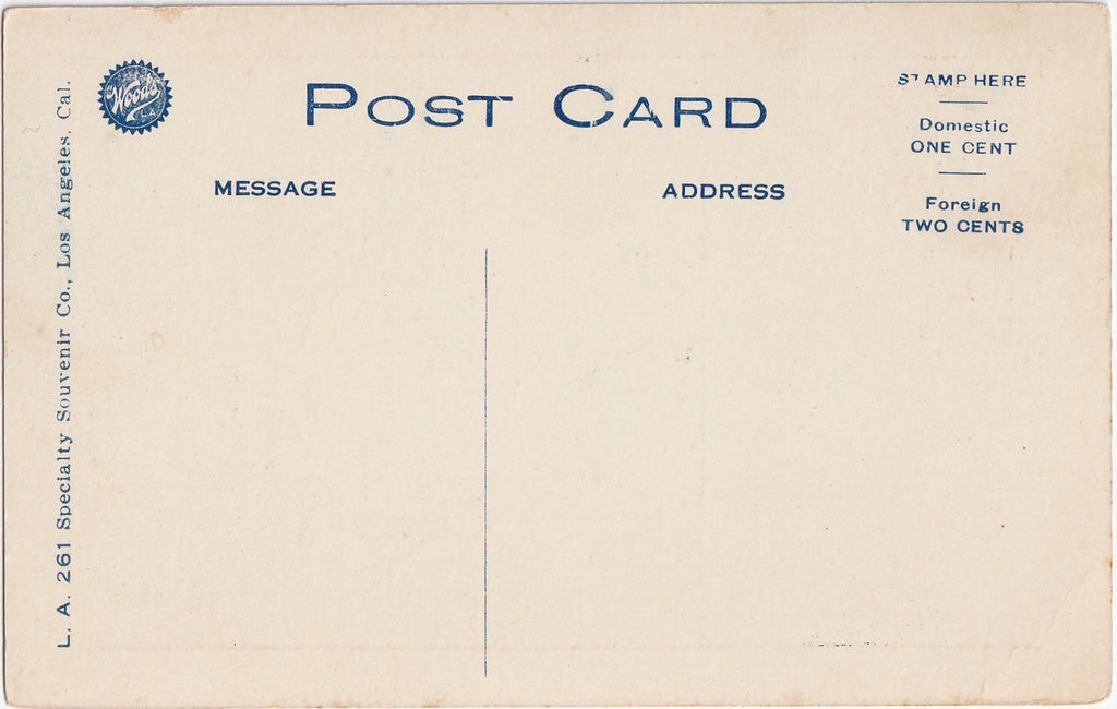 Los Angeles Loss Anjy-lus Antique Postcard Back