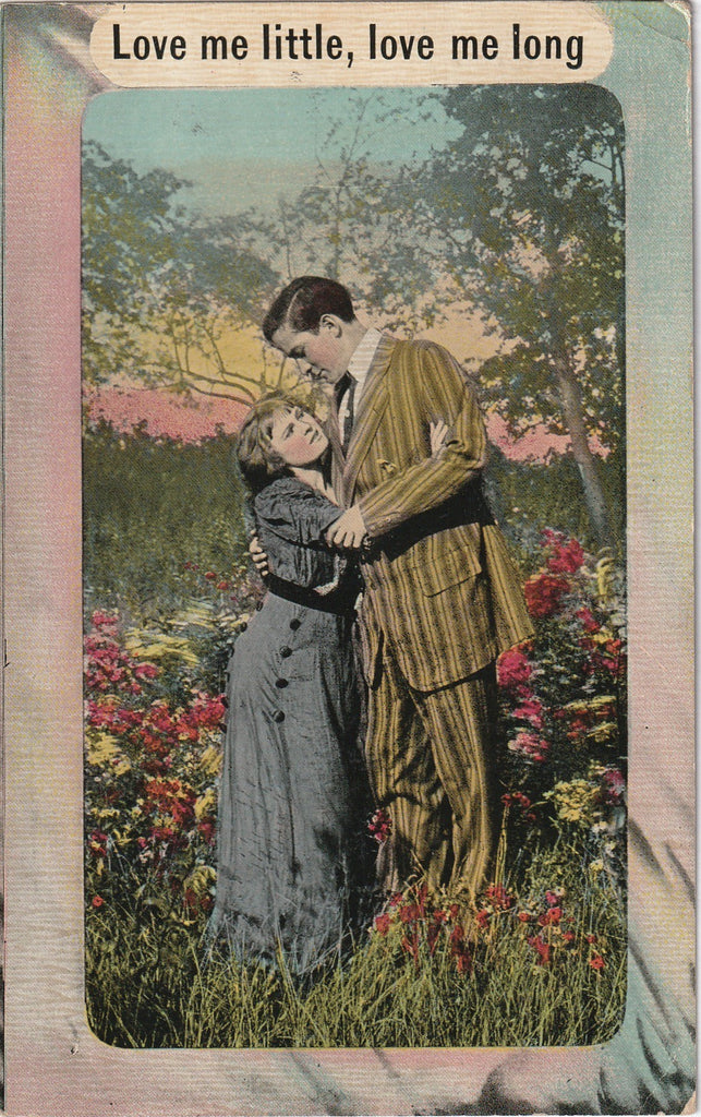 Love Me Little Love Me Long Antique Postcard