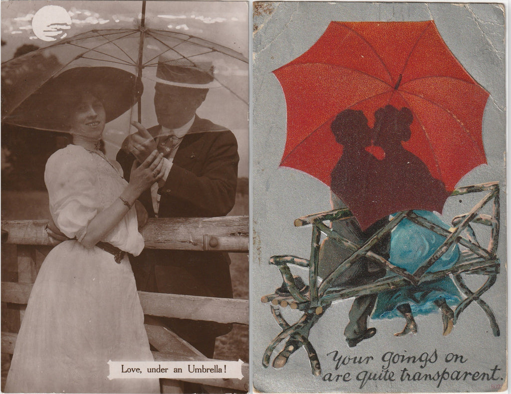 Love Under an Umbrella Antique Postcard SET