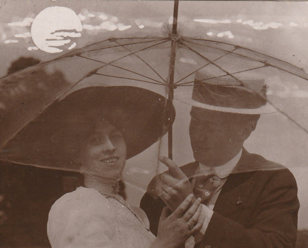 Love Under an Umbrella Antique RPPC Close Up