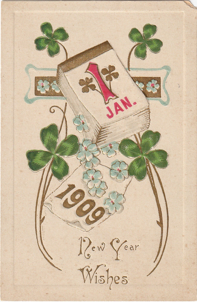 Lucky Clover January 1st Antique Postcard