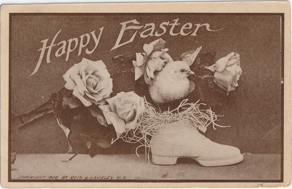 Lucky Easter Shoe Antique Postcard