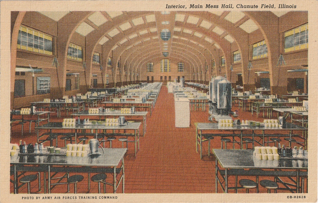 Main Mess Hall Chanute Field Illinois Vintage Postcard