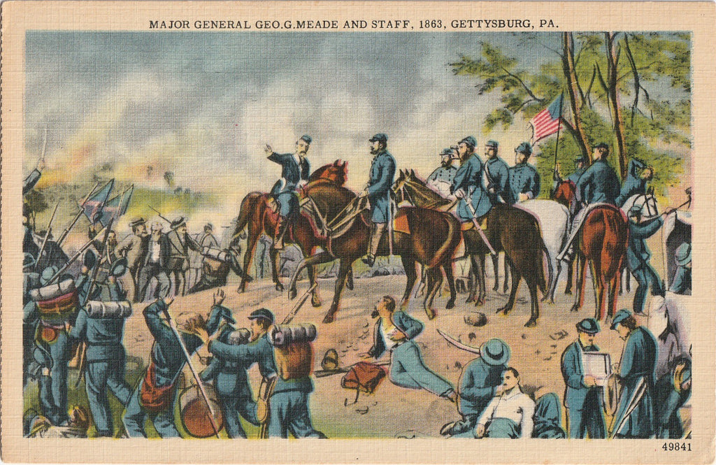 Major General Geo G Meade and Staff 1863 Gettysburg Postcard